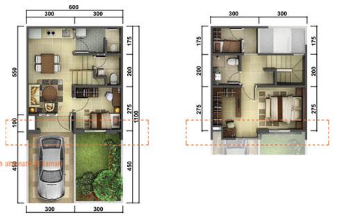 denah rumah minimalis ukuran 6x11 meter 3 kamar tidur 2