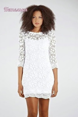 koronkowa sukienka z rekawami szydelkiem wzor