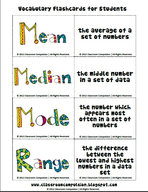 Classroom Compulsion: Mean, Median, Mode, and Range Pack ...