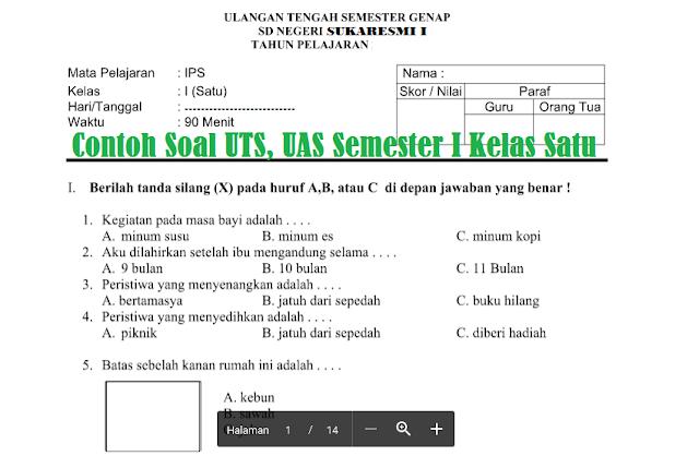 Contoh Soal UTS, UAS Semester I Kelas Satu