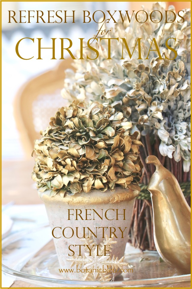 Refresh Boxwood Wreath for Christmas for French Country Style with white and gold spray paint