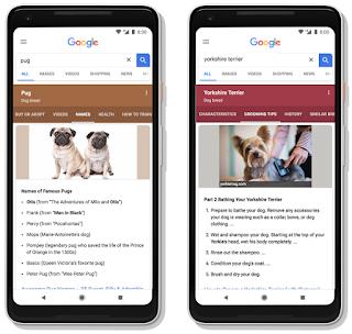 2 Handys mit Google Suchanfragen in verschiedenen Layouts