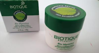 Biotique Bio Myristica Spot Corrective Anti-Acne Face Pack Review