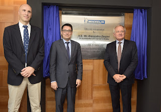 Serge Godefroid (Managing Director, Michelin India Technology Center), H.E. Mr Alexandre Ziegler (Ambassador of France to India) & Philippe Verneuil inaugurate Michelin R&D cente