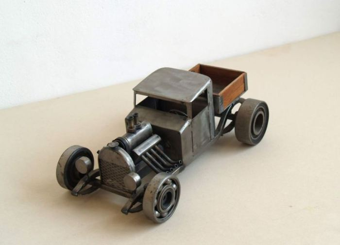Steampunk Sculptures From Old Car And Motorcycle Parts Art And