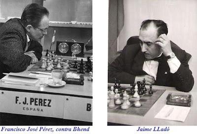 Los ajedrecistas españoles Francisco José Pérez, contra Bhend, y Jaime Lladó