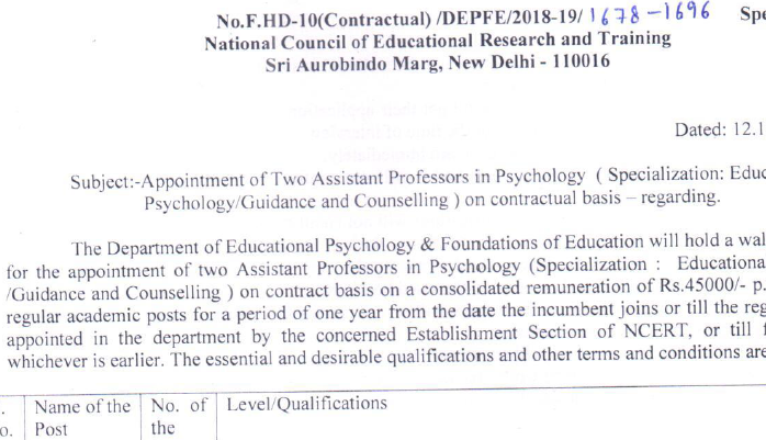 Appointment of Two Assistant Professors in Psychology