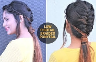 Low Fishtail Braided Ponytail Hairstyle For Medium To Long Hair | Easy Ponytail