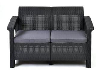 Keter Corfu Charcoal Love Seat