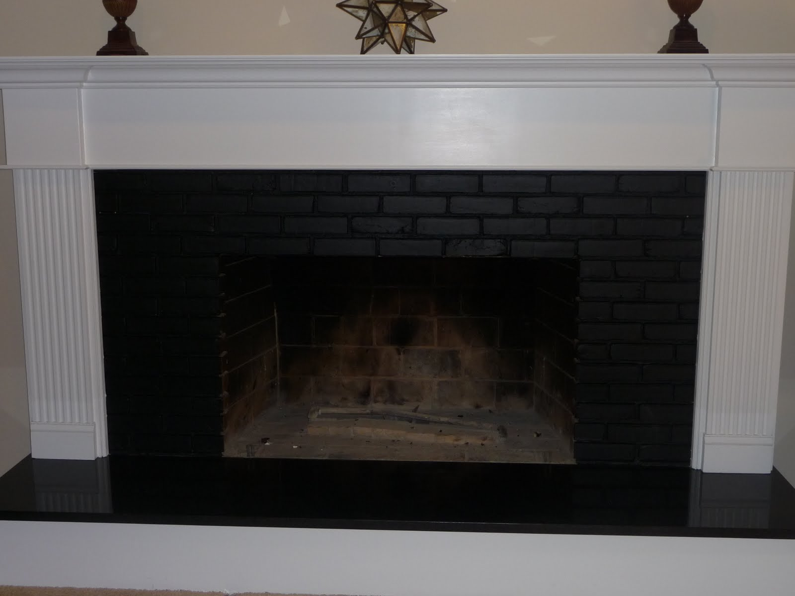 The gallery for --> Black Painted Brick Fireplace