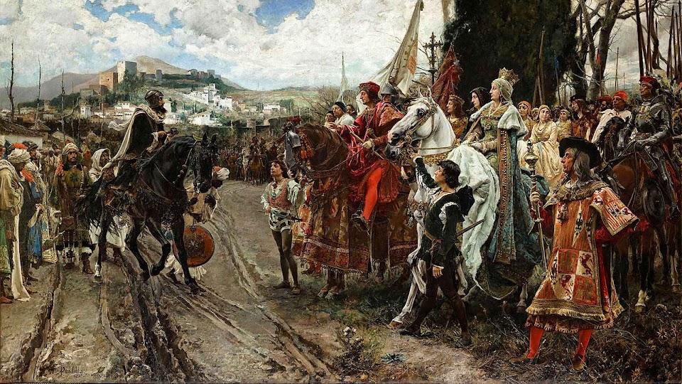 O rei muçulmano Boabdil entrega as chaves de Granada à rainha e ao rei Fernando de Aragão, seu esposo. Francisco Pradilla y Ortiz (1848–1921).
