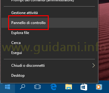 Windows 10 aprire Pannello di controllo da clic destro su Start