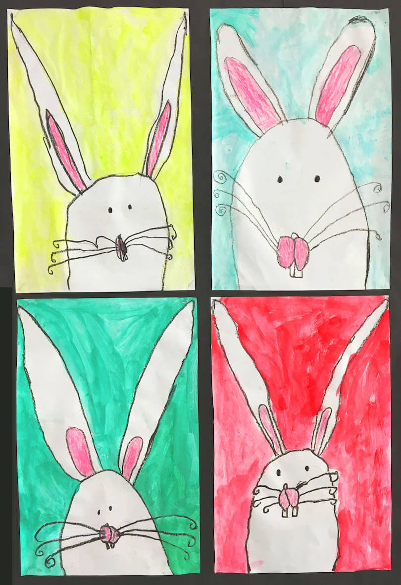 Spring Art Gallery: Bunnies by a 1st Grade Class