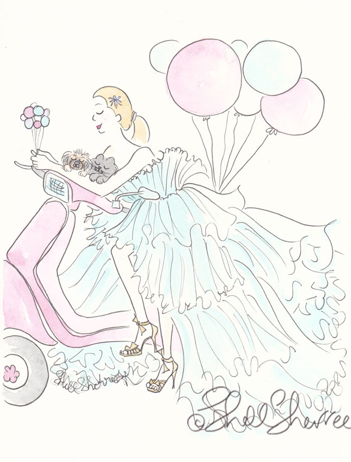 Fashion & Fluffballs Illustration : New Year's Scootering in Aqua © Shell Sherree