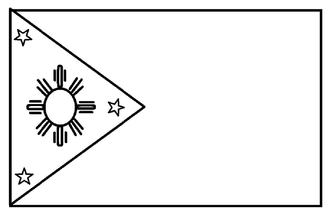 Mewarnai Gambar Sketsa Bendera Negara Filipina Flag Nation