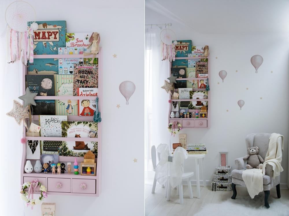 półka na książki w stylu skandynawskim