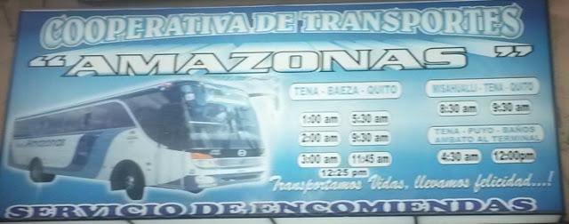 Cooperativa de Transportes Amazonas en la ciudad de Tena