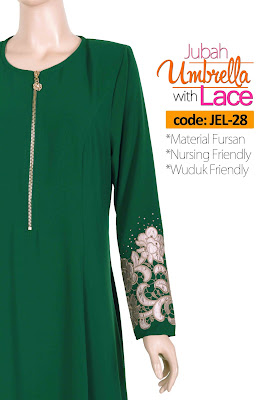 Jubah Umbrella Lace JEL-28 Green Depan 11
