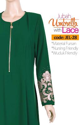 Jubah Umbrella Lace JEL-28 Green Depan 11