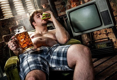 man eating and drinking poor choice of foods