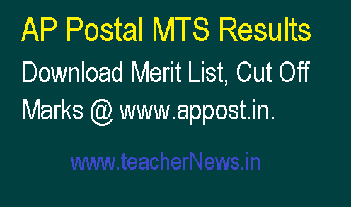 AP Postal MTS Results 2018 | Download Merit List, Cut Off Marks @ www.appost.in