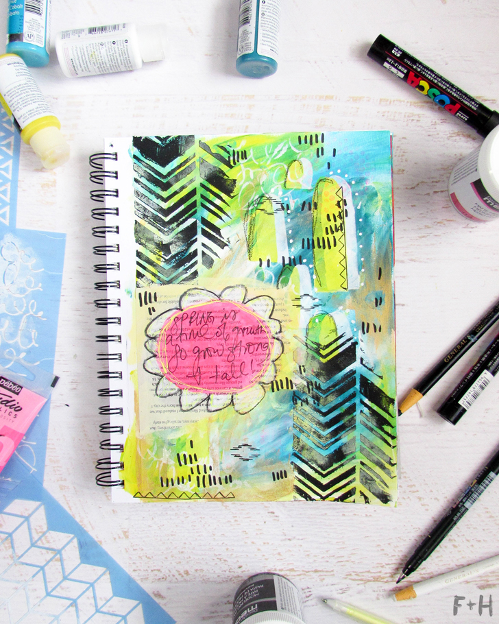 Bright Spring Art Journal Tutorial with DecoArt - Fox + Hazel