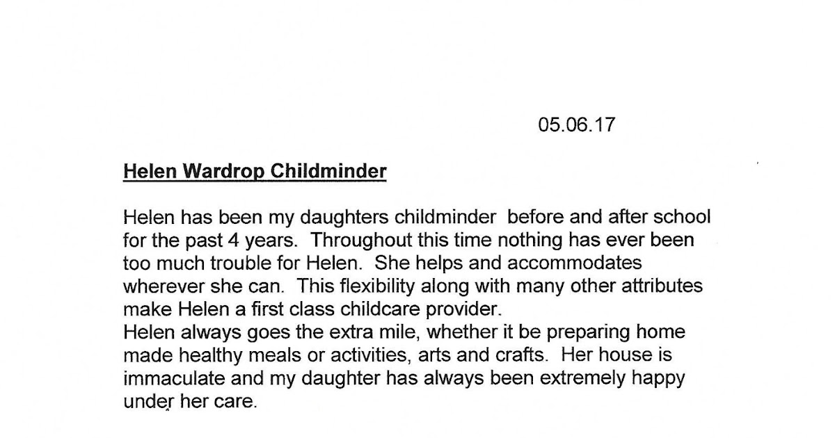 childminder recommendation letter - Vatoz.atozdevelopment.co