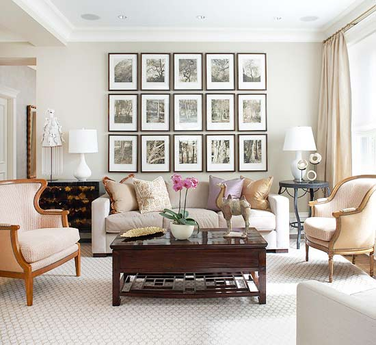 Hanging art an easy way to create a beautiful gallery - Over the couch decor ...