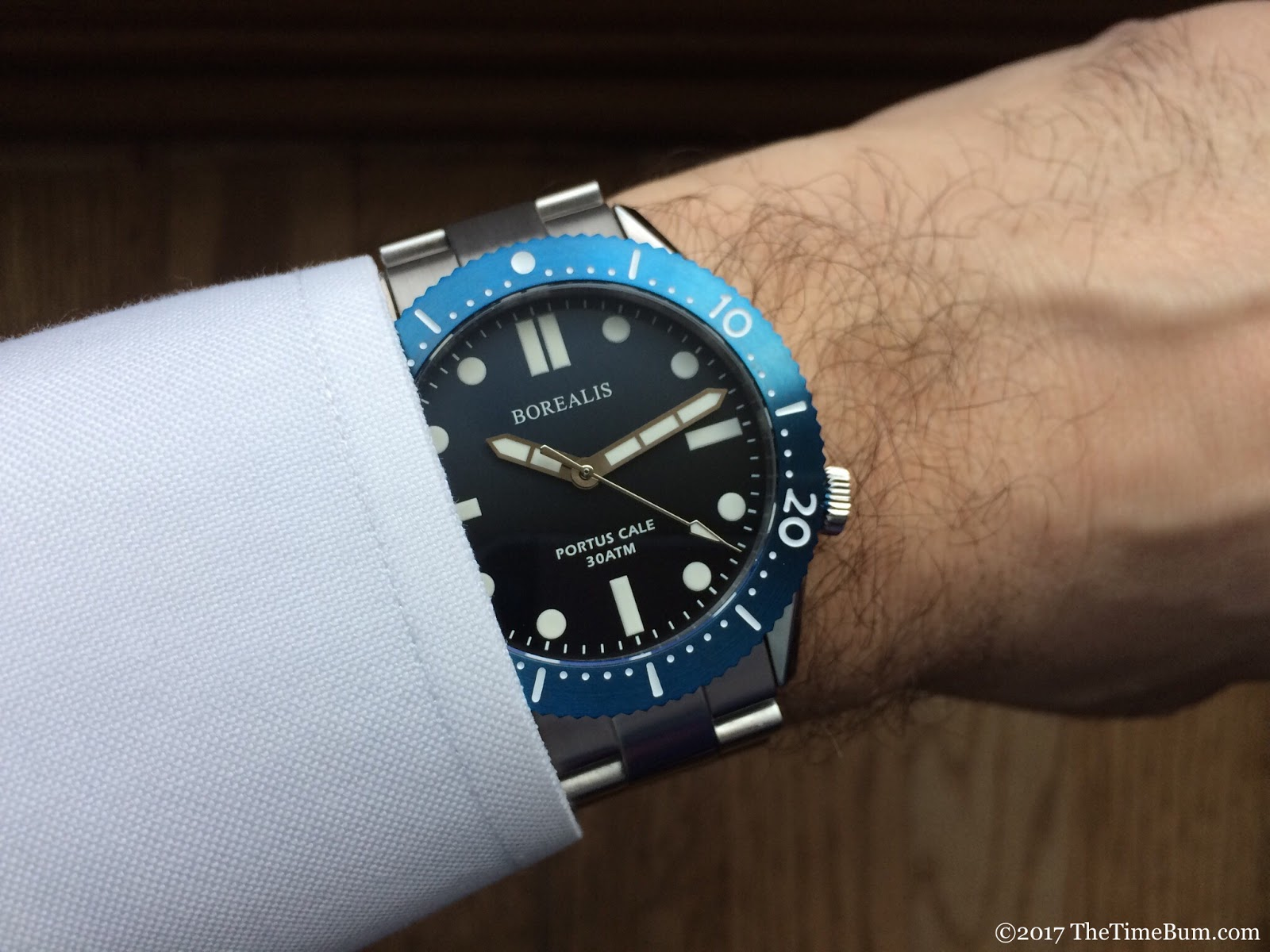 Borealis Portus Cale blue Fade to Black wrist shot