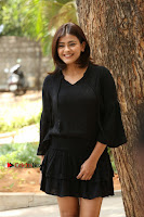 Actress Hebah Patel Stills in Black Mini Dress at Angel Movie Teaser Launch  0067.JPG