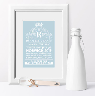 Heritage personalised meaning of name print in blue, nursery art from PhotoFairytales.co.uk