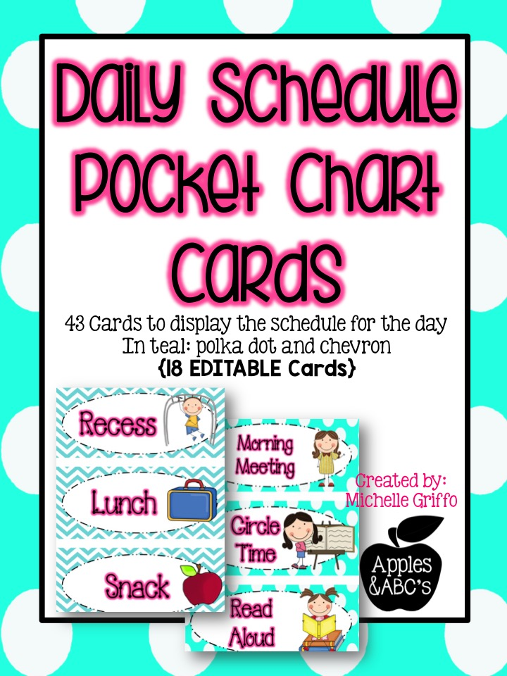 Daily Schedule Cards - Apples and ABC\u0027s