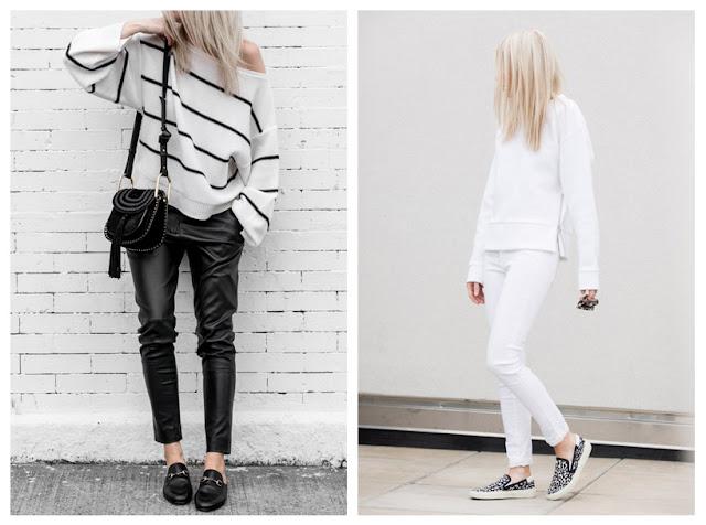 Тонкий пуловер с кожаными брюками и с джинсами
