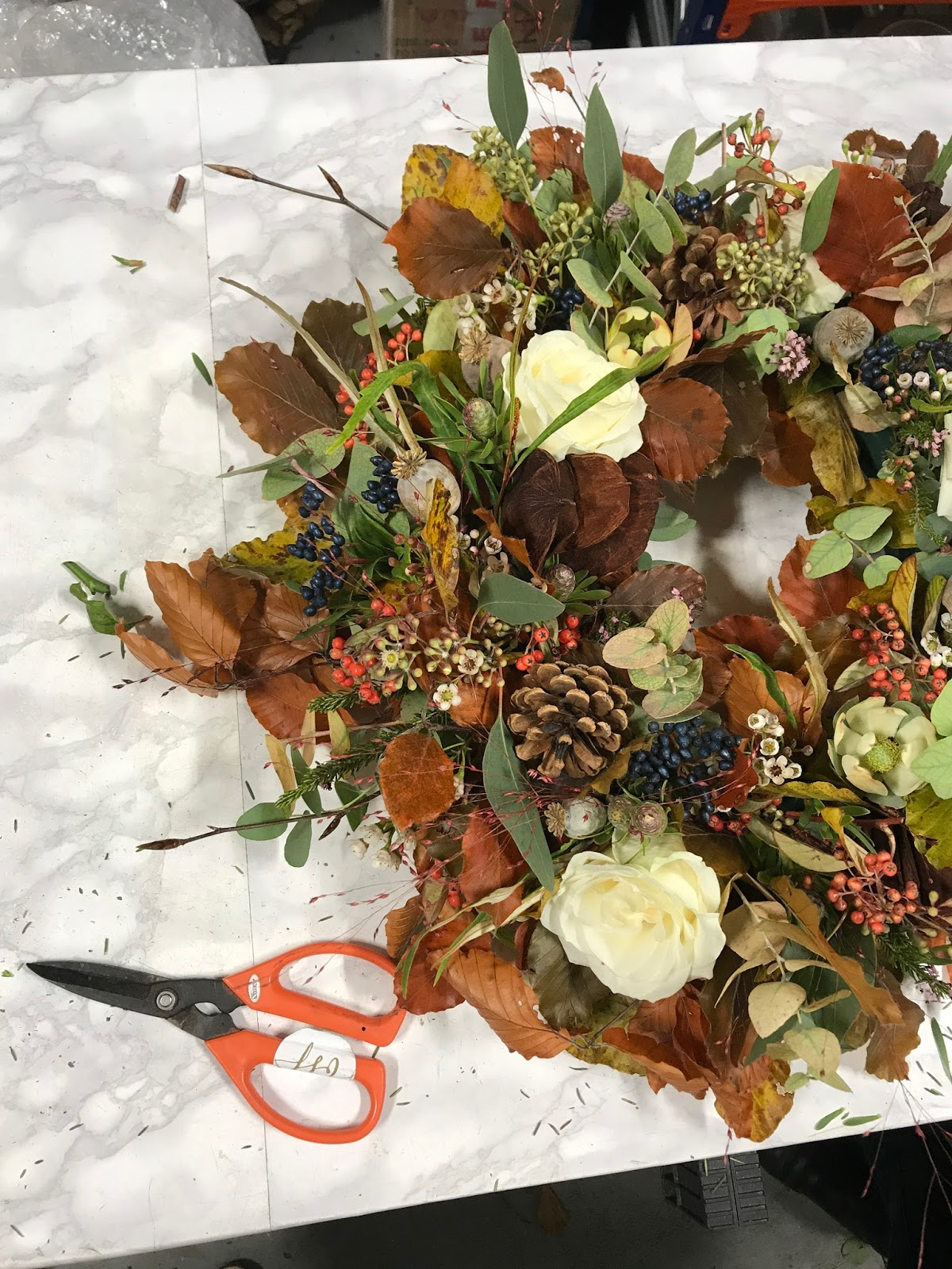 Autumn wreath making roses and rolltops and my finished wreath izmirmasajfo Images