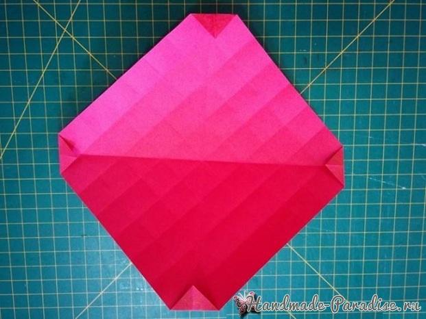 Коробочка РОЗА из бумаги в технике оригами. Мастер-класс (8)