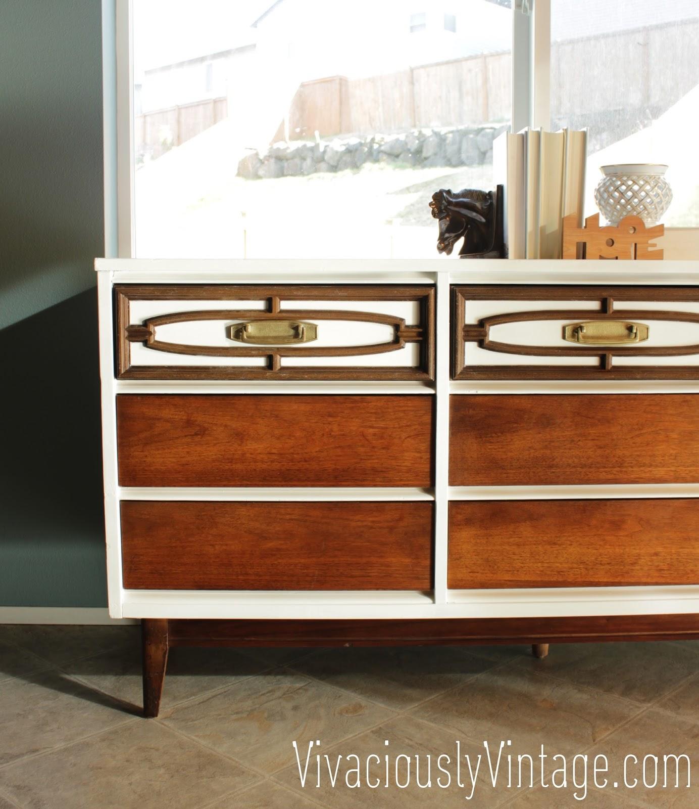 two 2 tone midcentury modern bassett dresser