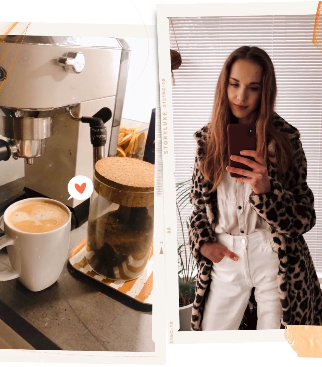 Morning coffee and light neutral toned outfit with leopard print faux fur coat - Aamukahvi, talviasu leopardiprintti, tekokarvatakki