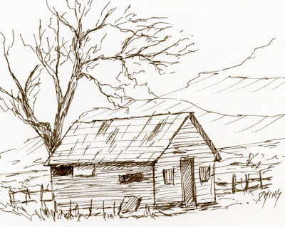 art sketch pen ink landscape house derelict tree rural
