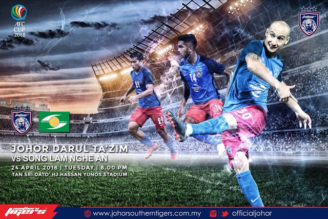 Live Streaming JDT vs Song Lam Nghe An 24-4-2018