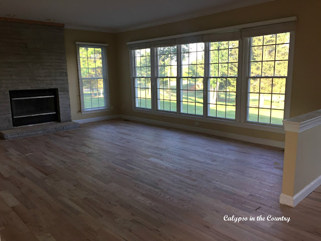 Family Room with Hardwood Floors Installed (before staining)