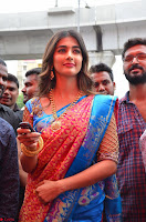 Puja Hegde looks stunning in Red saree at launch of Anutex shopping mall ~ Celebrities Galleries 108.JPG