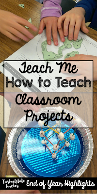 "Students become teachers in this ""teach me how to teach"" classroom project; includes lesson plan template, peer review/feedback forms, and student self-reflections; end of year project based learning projects for science"