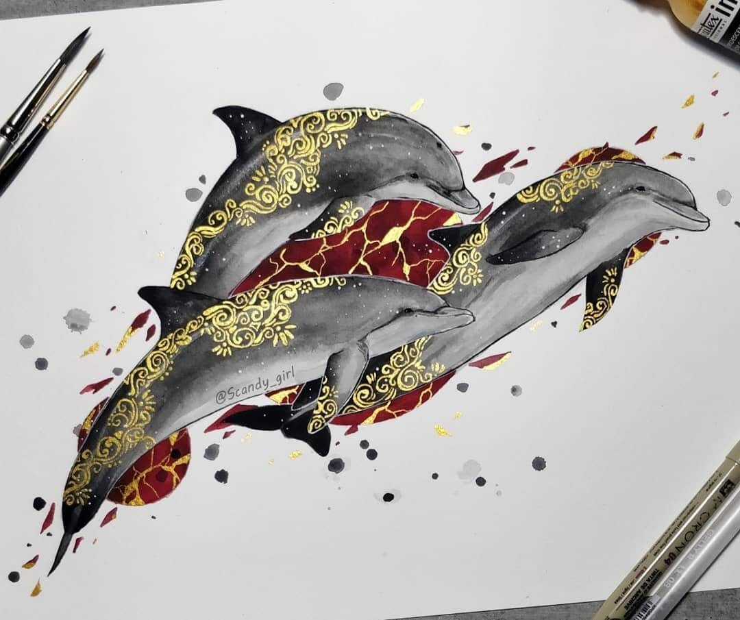08-Dolphins-Jonna-Hyttinen-Animals-Mixture-of-Drawings-and-Paintings-www-designstack-co