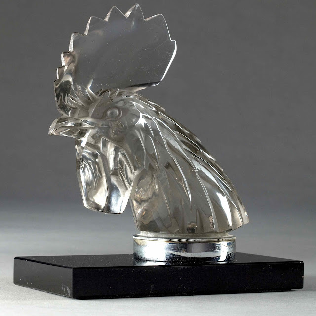 Lalique car mascot 1928 glass rooster