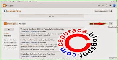Cara menghapus daftar bacaan di dashboard blogger