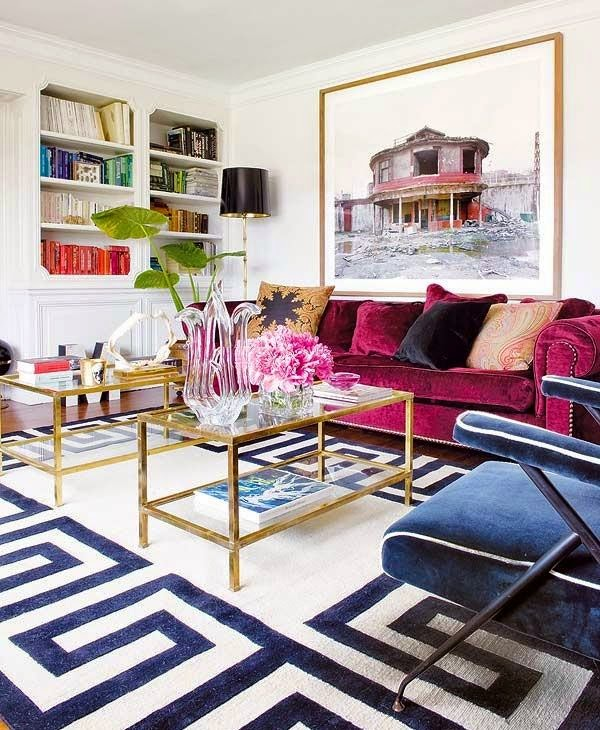 House envy put your color where your couch is - Navy rug living room ...