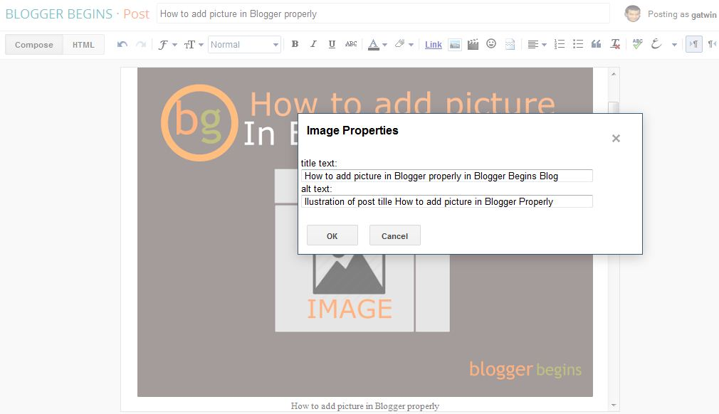 Image properties in Blogger Post : title text and alt text