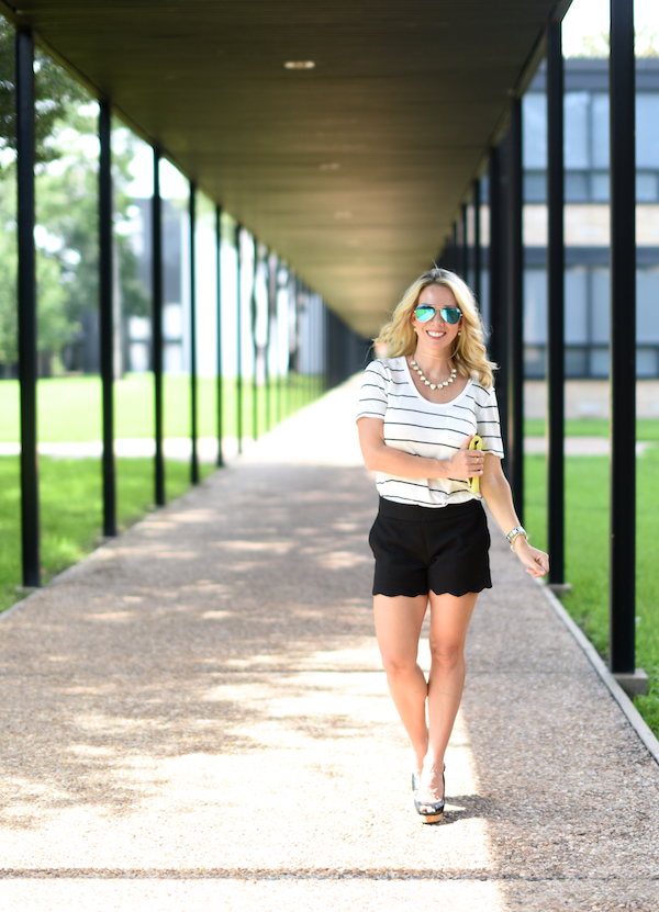 Outfit Inspiration | Striped top and black scallop shorts with a pop of yellow