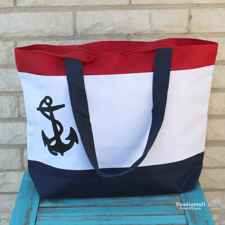 Nautical Tote Bag With Anchor Diy I Love Bags Zippered Top Was Sent This In Exchange For My Honest Review