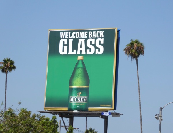 Mickeys Malt Liquor Welcome back glass billboard
